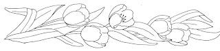 desenho de tulipas para pintar em toalha de banho