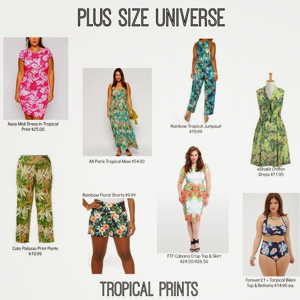 tropical prints, plus size fashion, lilly pultizer, target, plus size universe, asos, forever 21, rainbow, catos, eshakti