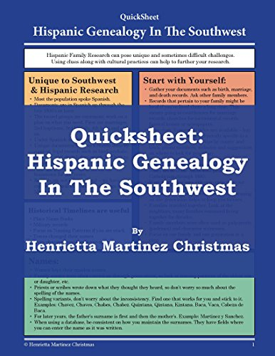 Quicksheet: Hispanic Genealogy in the Southwest