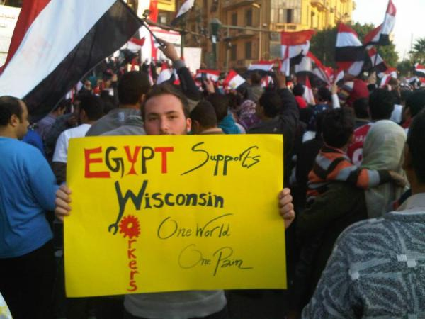 Egyptian Protester with Support for Wisconsin