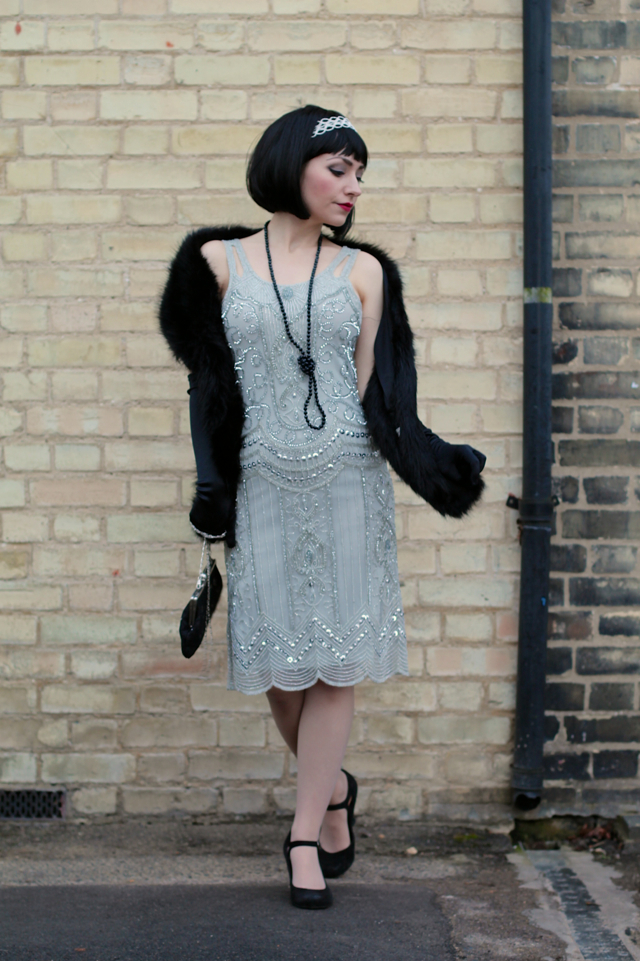 1920s Gatsby flapper party outfit with Frock and Frill Ziegfeld dress