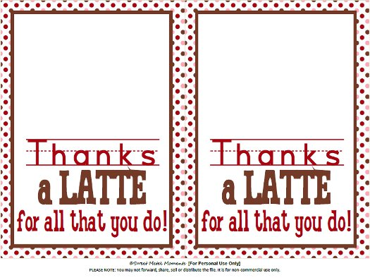 graphic regarding Thanks a Latte Printable named Adorable Metel Situations: No cost Printable - Instructor Appreciation