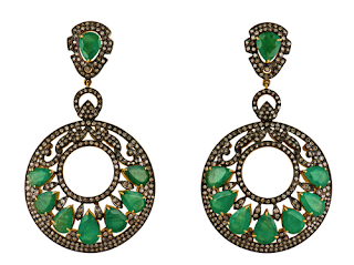 Open Circle Drop Earrings in White Gold, Emeralds, and White Diamonds by ELAHN Jewels.