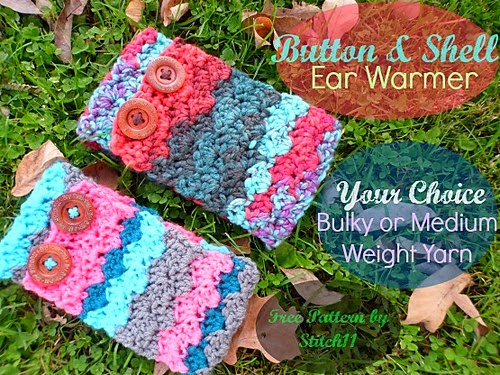 free crochet pattern shell and button ear warmer