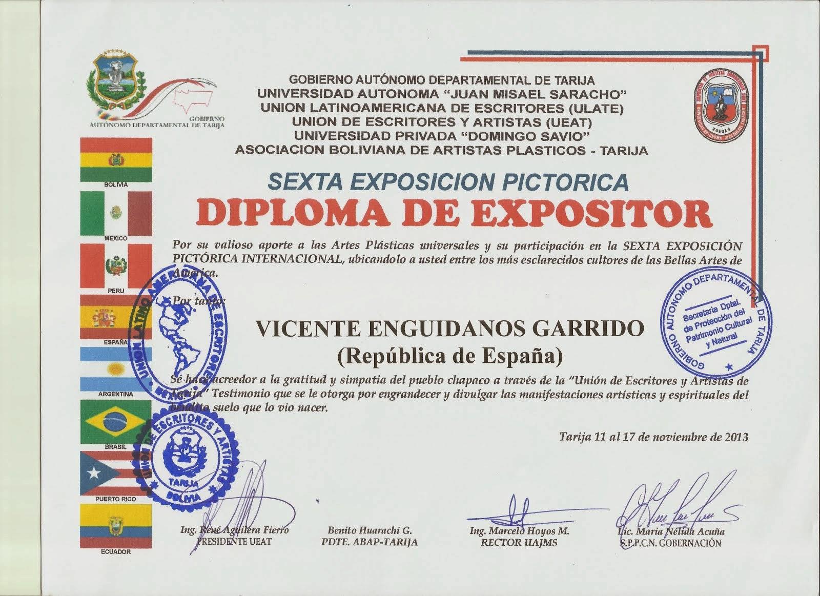 DIPLOMA EXPOSITOR PINTURAS