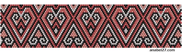 схема браслета из бисера ко дню святого валентина сердца сердечки бисероплетение мозаика мозаичный плетение бисероплетение
