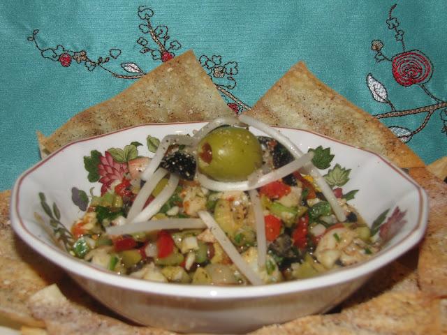 37 Cooks: Spicy Cajun-Oriental Shrimp & Olive Salad with Wonton ...