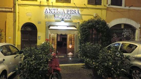 imagen fachadas del restaurante Antica Pesa en Roma Italia