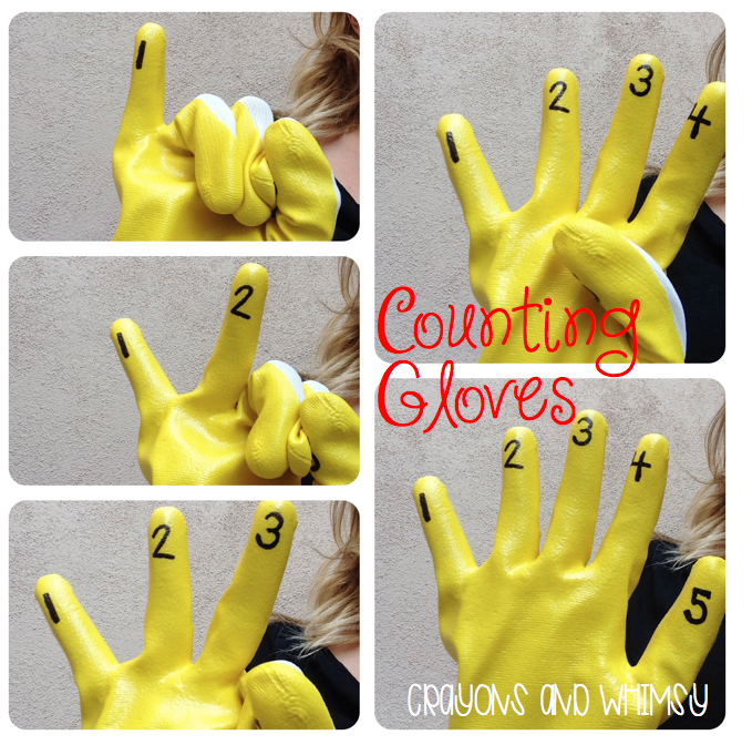 Crayons and Whimsy Counting Gloves math kindergarten