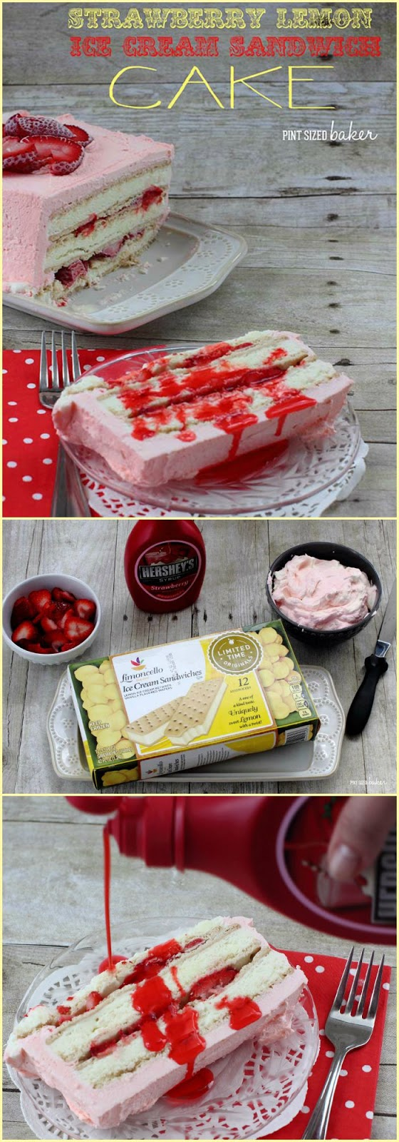 This Strawberry Lemon Ice Cream Sandwich Cake is easy to make and so delicious! The kids can whip it up quickly while you prepare the BBQ