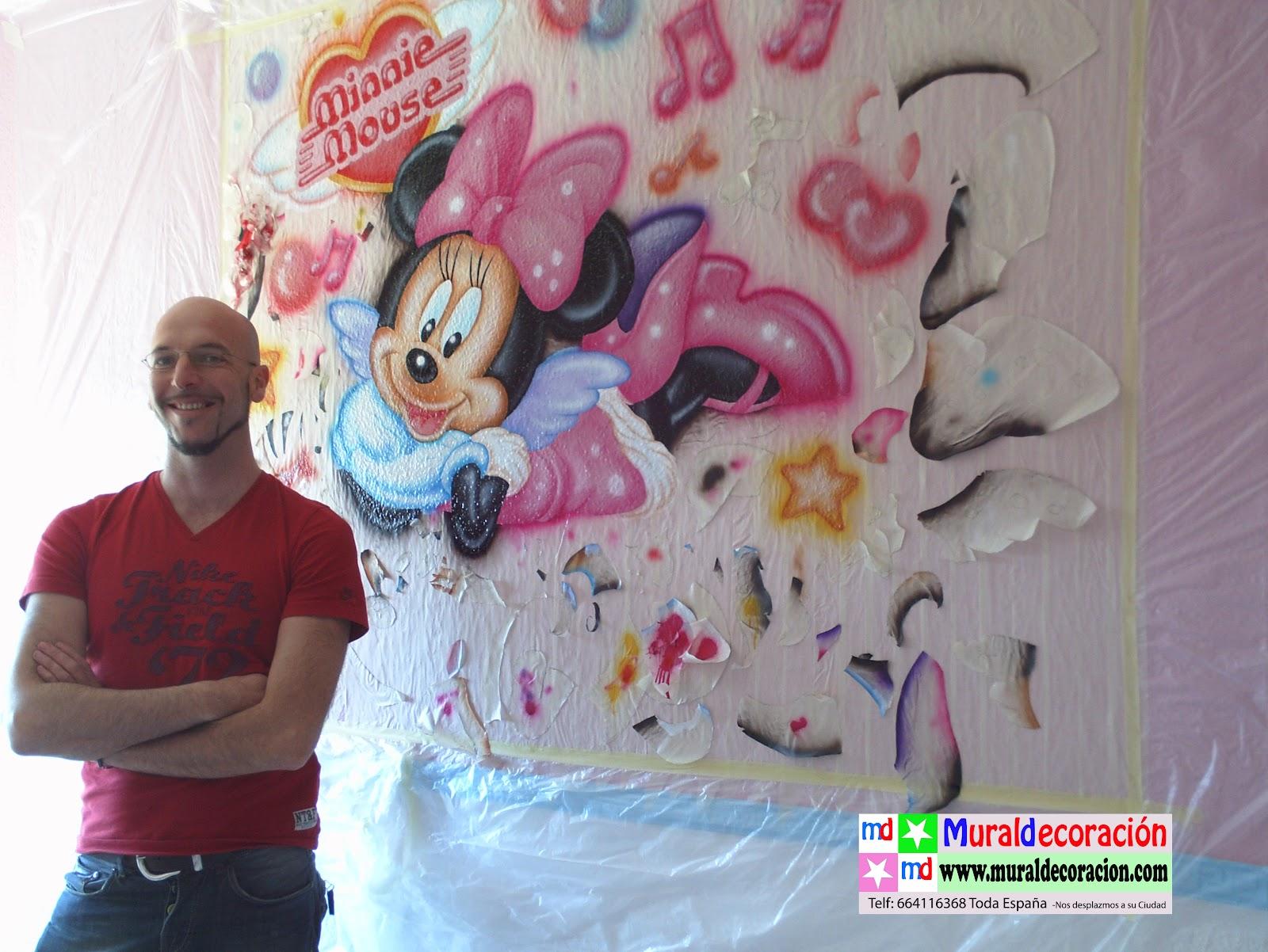 Murales infantiles minnie mouse mural infantil murales - Decorar paredes de gotele ...