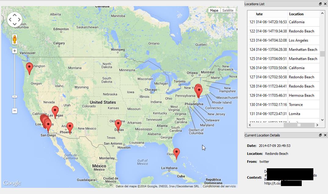 Creepy en funcionamiento. Además del mapa a la derecha hay una lista con las localizaciones encontradas
