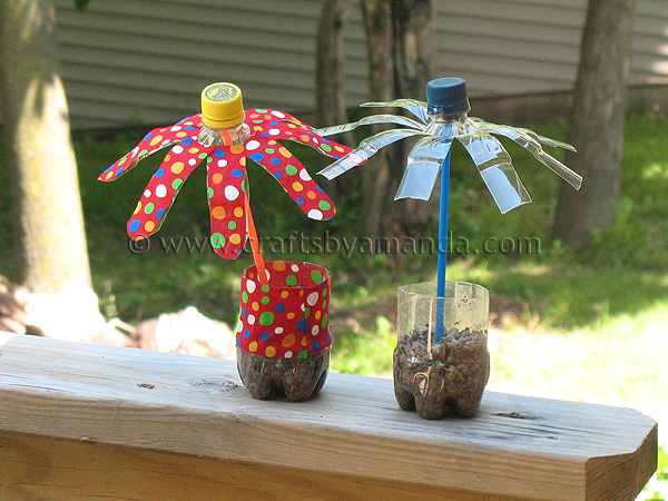 Plastic water bottle flowers crafts by amanda for Recycle project ideas