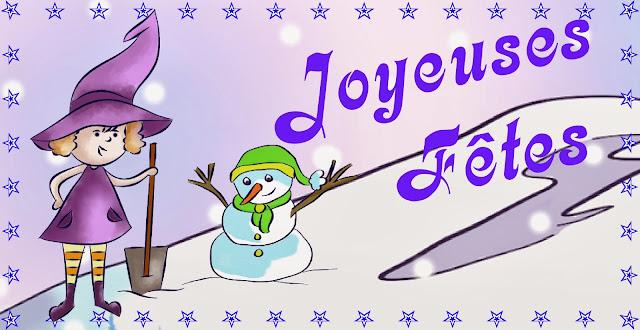 Une sorcière et un bonhomme de neige pour vous souhaitez de joyeuses fêtes de fin d'année. Illustration numérique de Florence Gobled, auteur de livres pour enfant et illustrateur jeunesse à Autun en Bourgogne