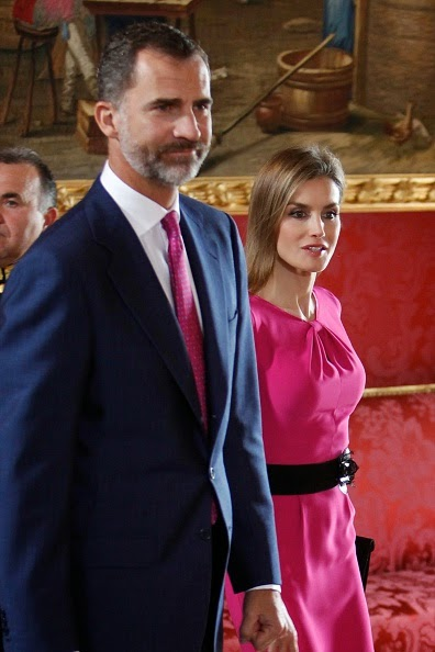 King Felipe VI of Spain and Queen Letizia of Spain receive President of Honduras Juan Orlando Hernandez Alvarado and wife Ana Rosalinda Garcia at the Royal Palace on 01.10.2014 in Madrid, Spain