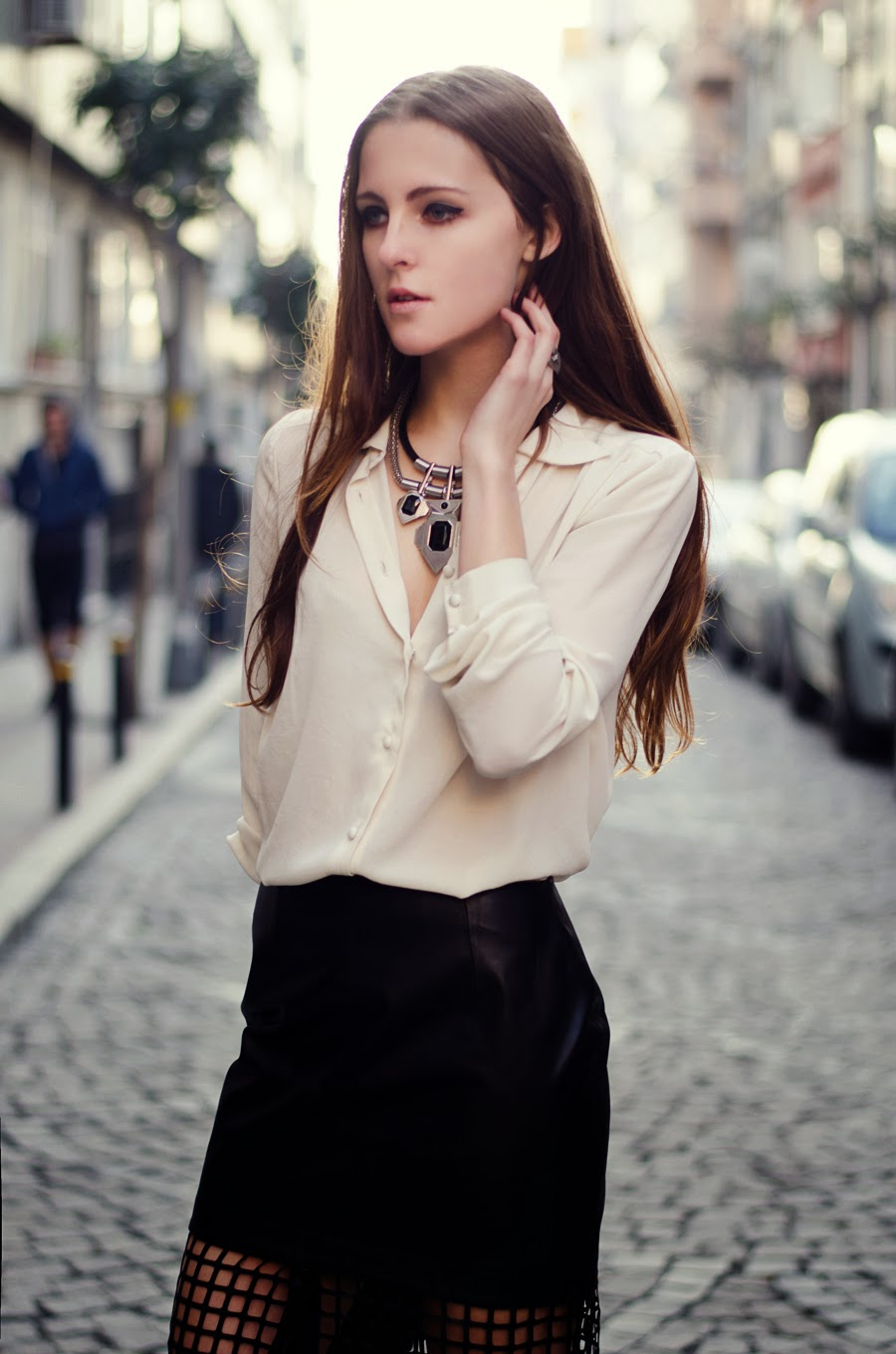 details, long hair look, street style istanbul russian fashionblogger, leather skirt outfit, mesh skirt outfit, white blouse outfit, spring 2014 street style, massive necklace outfit, persunmall bloggers