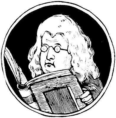 caricature, Sir Isaac Newton, book, glasses, wig
