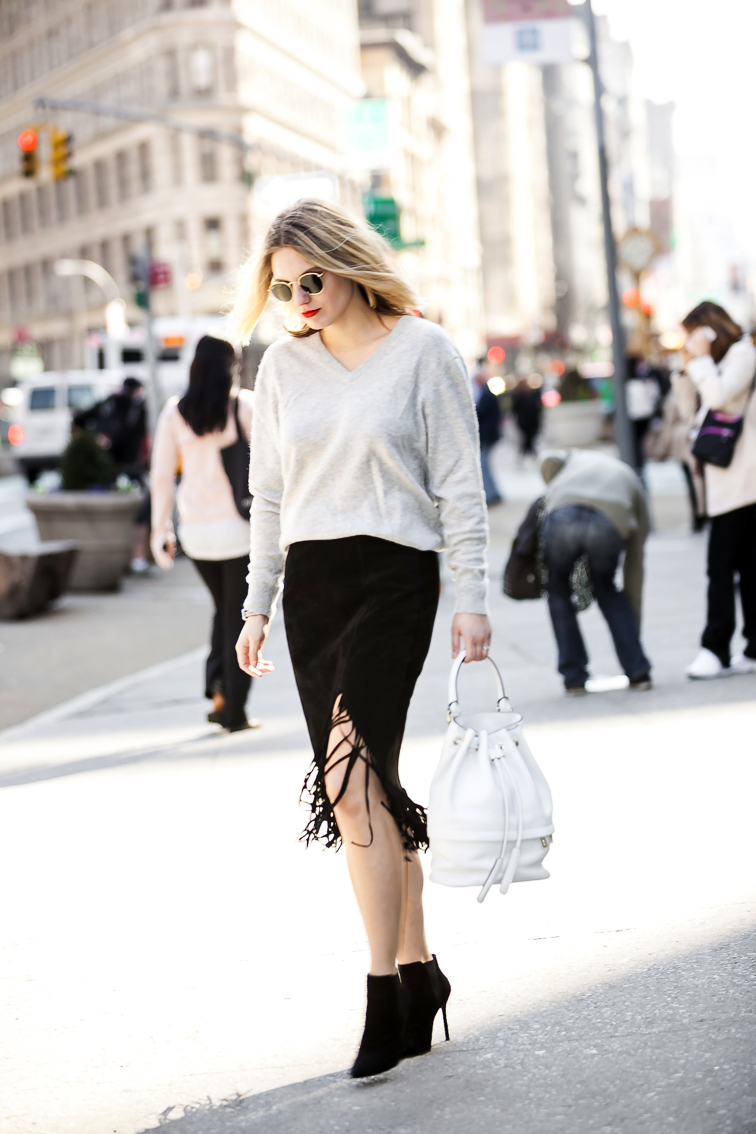 Luana Italy white leather Theo bucket bag, Stuart Weitzman suede pointed toe booties, MAC Lady Danger, suede fringe skirt, New York City