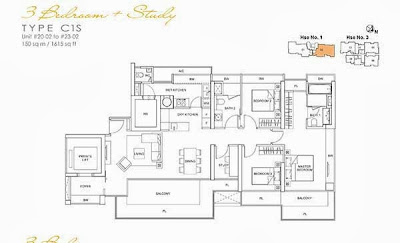 Lincoln Suites 3 bedroom + Study Floor Plan