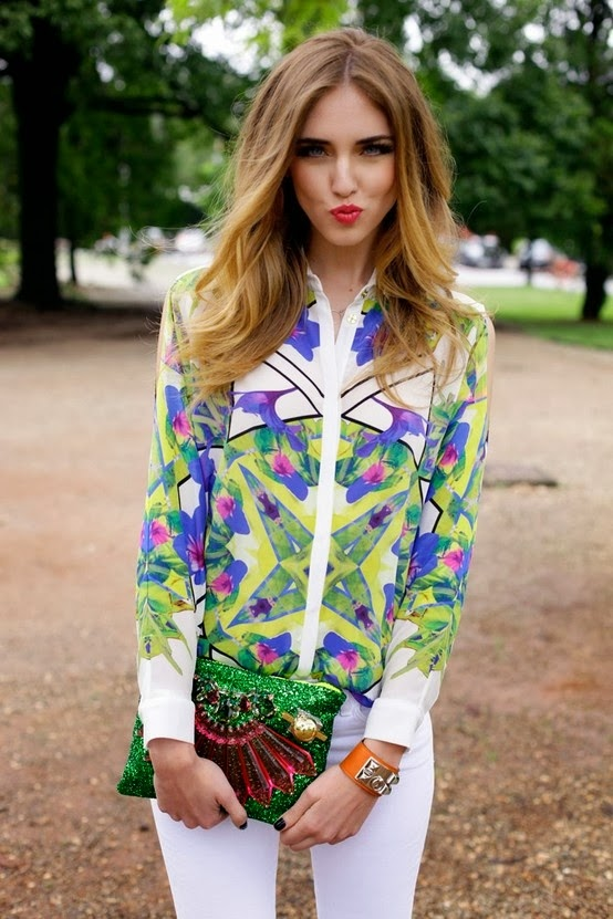 Spring Florals Shirt With White Jeans