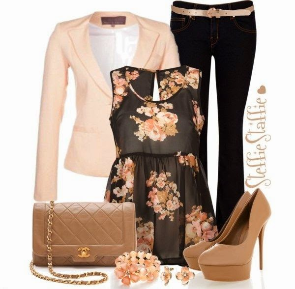 Trendy Polyvore Outfits Fall/Winter. Love the floral top with blazer and a cute skirt  See more http://worldcutefashion.blogspot.com/