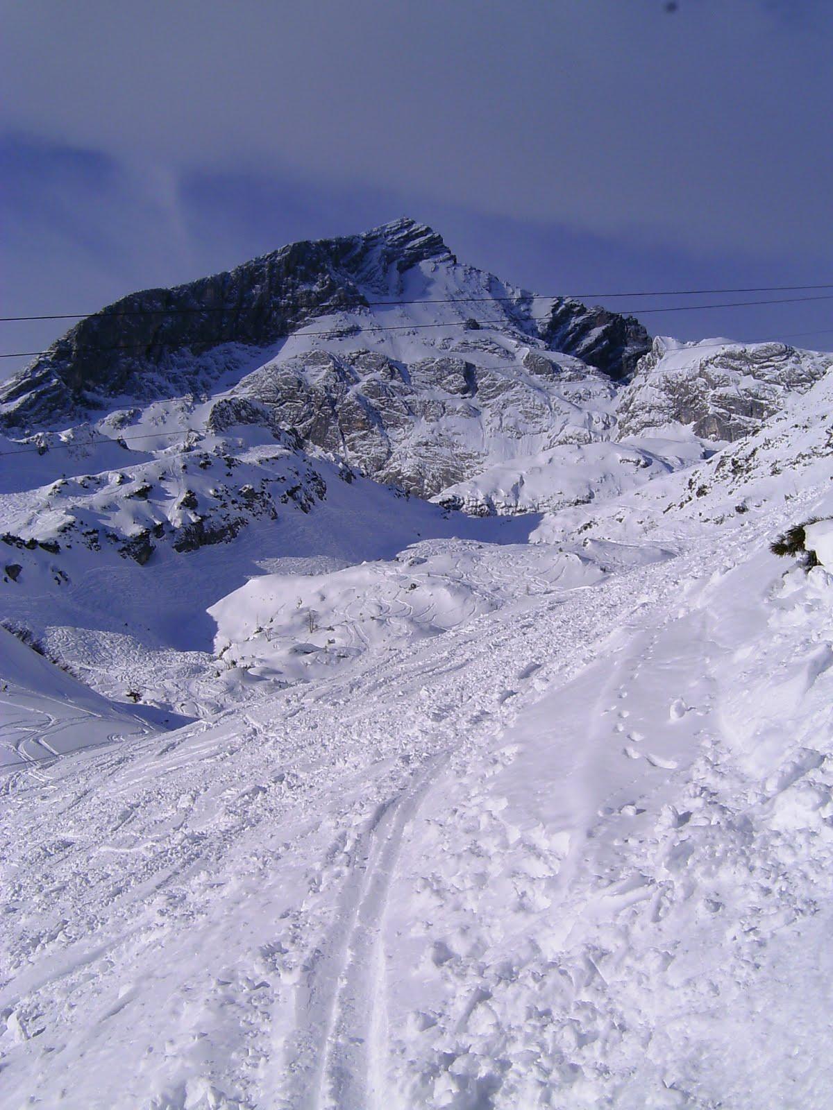 Aufstiegsspur mit Alpspitze