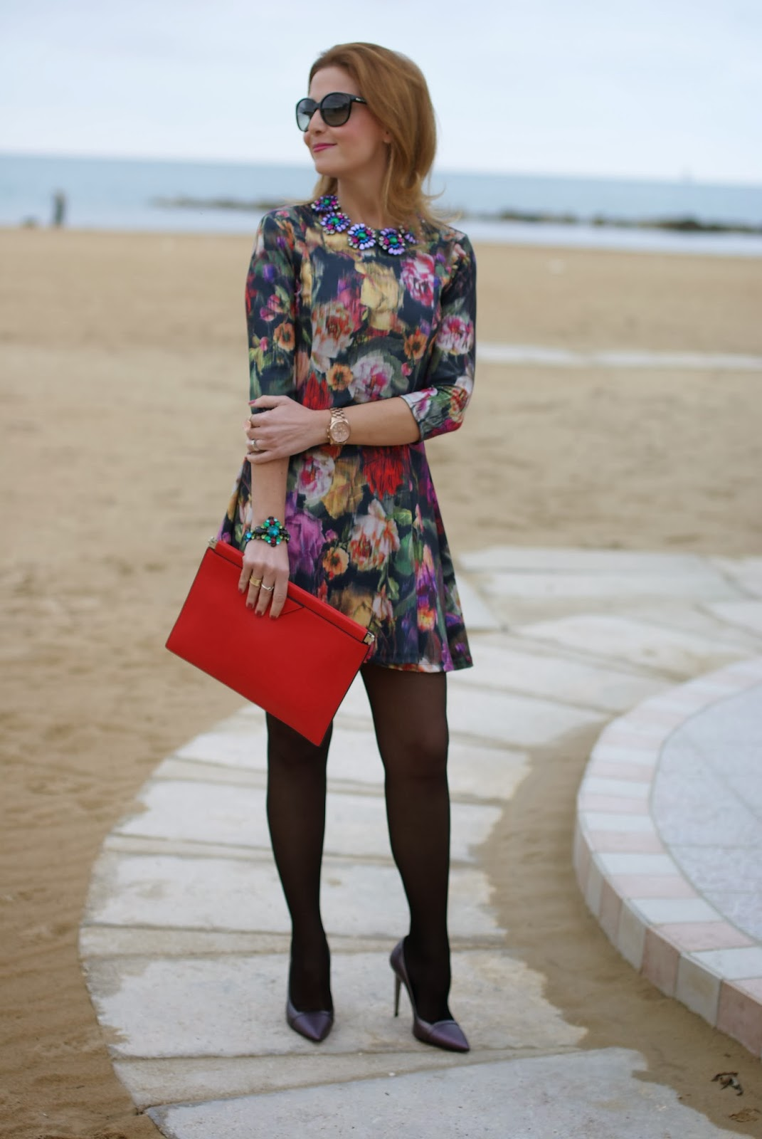floral dress, Miu Miu sunglasses, amelie necklace, Mercantia gioelli, Fashion and Cookies, fashion blogger