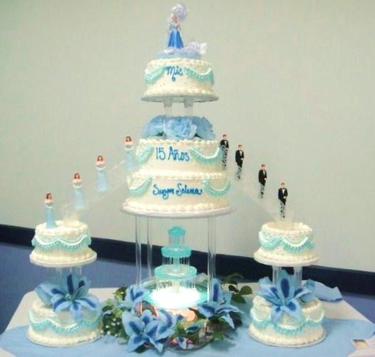 quincea  241 era cake baby blue quincea  241 era cake square tiered 2 tiered    Quinceanera Cakes Blue