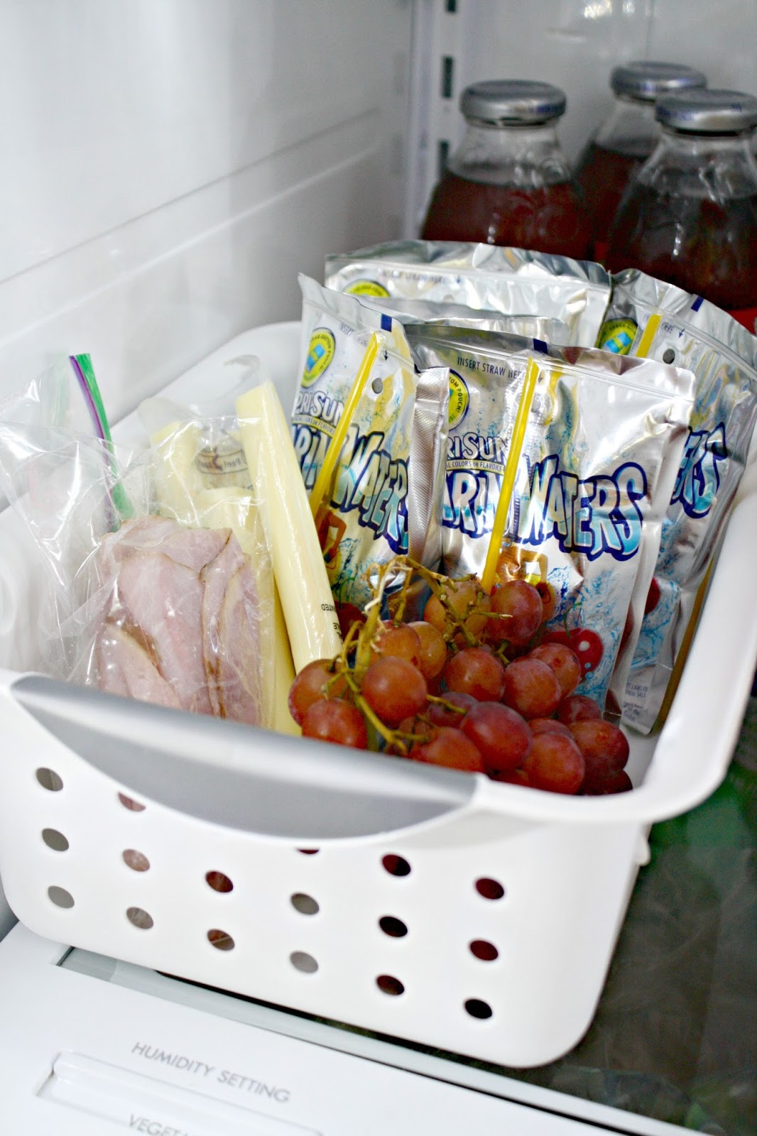 lunch basket in fridge