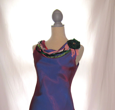 Special Occasion Dress, Slanted Hem, Metallic Lavender Color, Hand Embellished
