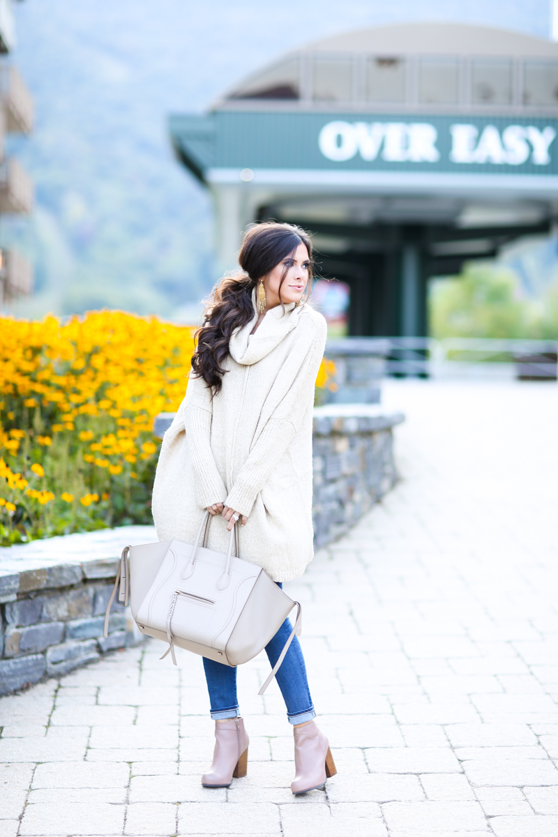 fall outfit idea, fall ootd pinterest, pinterest casual fall outfits, stowe mountain lodge vermont, oversized sweater with booties, how to wear oversized sweaters, emily gemma, the sweetest thing