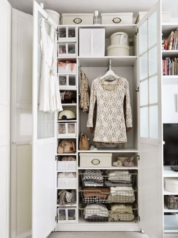Small Walk In Closet Ideas: Walk In Closet With Doors And Shelves