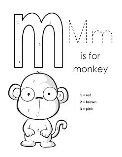Kids Page Alphabet Letter M lowercase