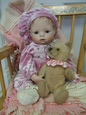 "Another ""Emily Hart"" Baby Doll and Her ""Steiff Teddy"""