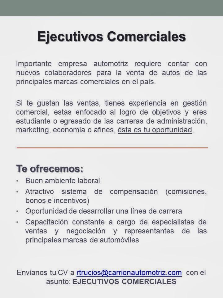Ejecutivos Comerciales Huánuco - Oportunidad Laboral