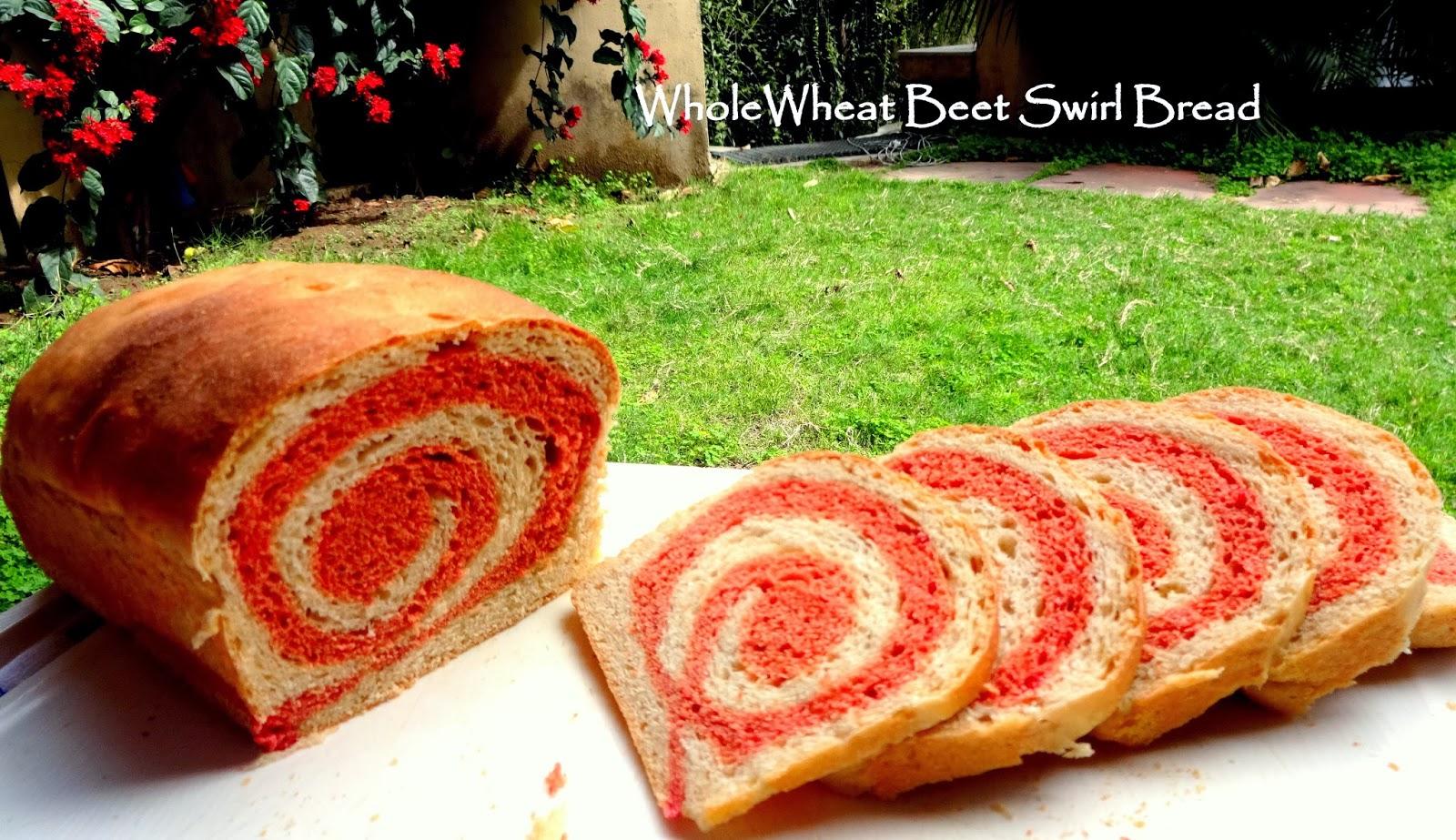 whole wheat beet swirl bread (vegan)