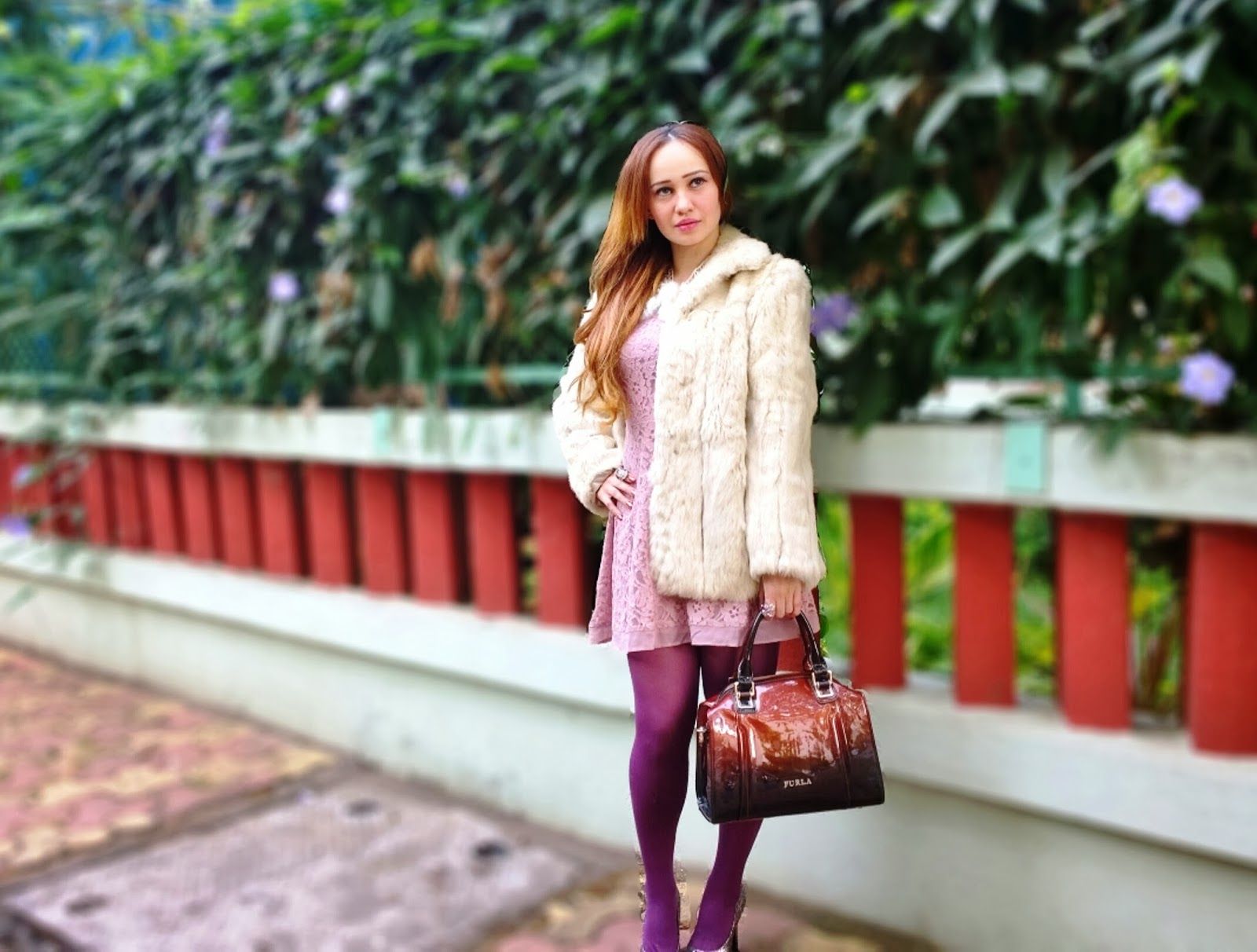 Blush lace Dress, White Faux Fur Overcoat,Burgundy Furla Bag