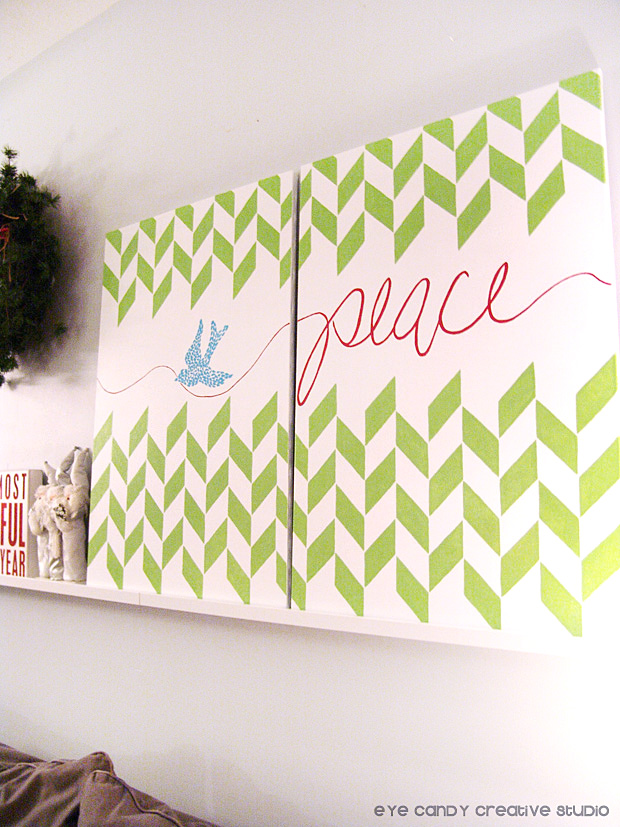 gallery wall art for christmas, peace artwork on canvas, painting canvas