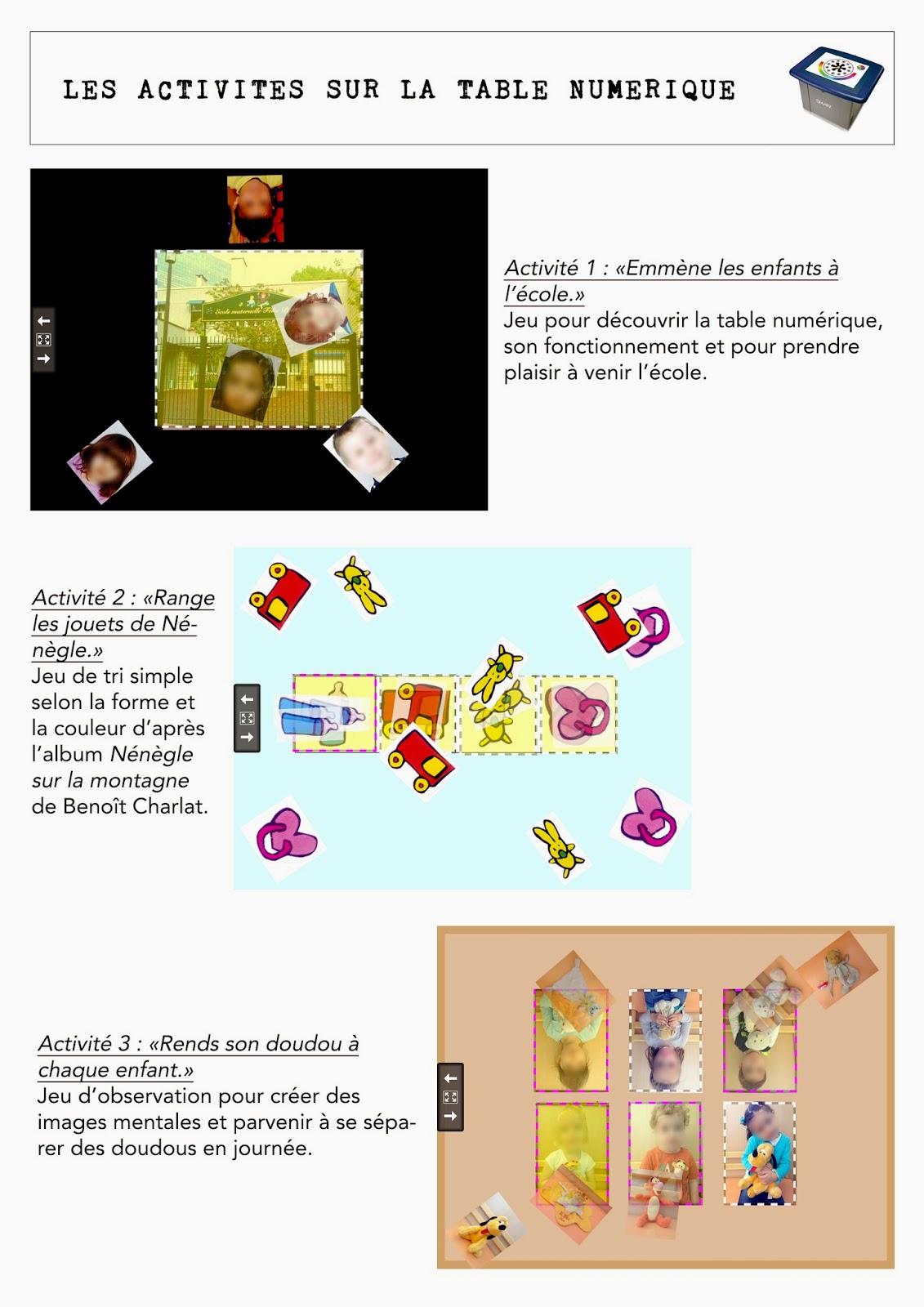 Maternelle 2 0 table smart activit s de rentr e en - Laisserons nous a notre table paroles ...