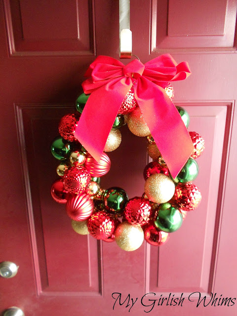 Diy Christmas Ball Wreath My Girlish Whims