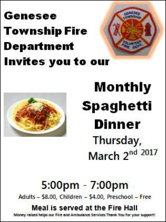 3-2 Spaghetti Dinner, Genesee VFD