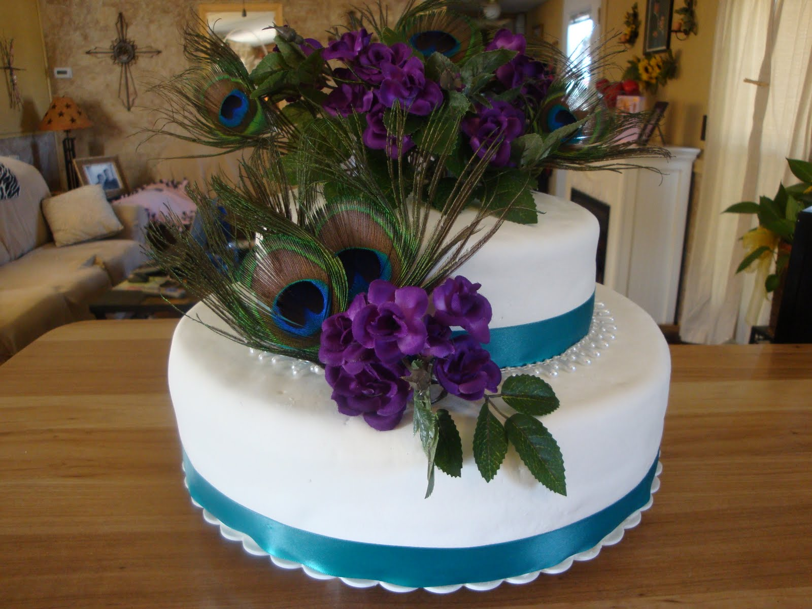 Peacock Wedding Cake With Feathers
