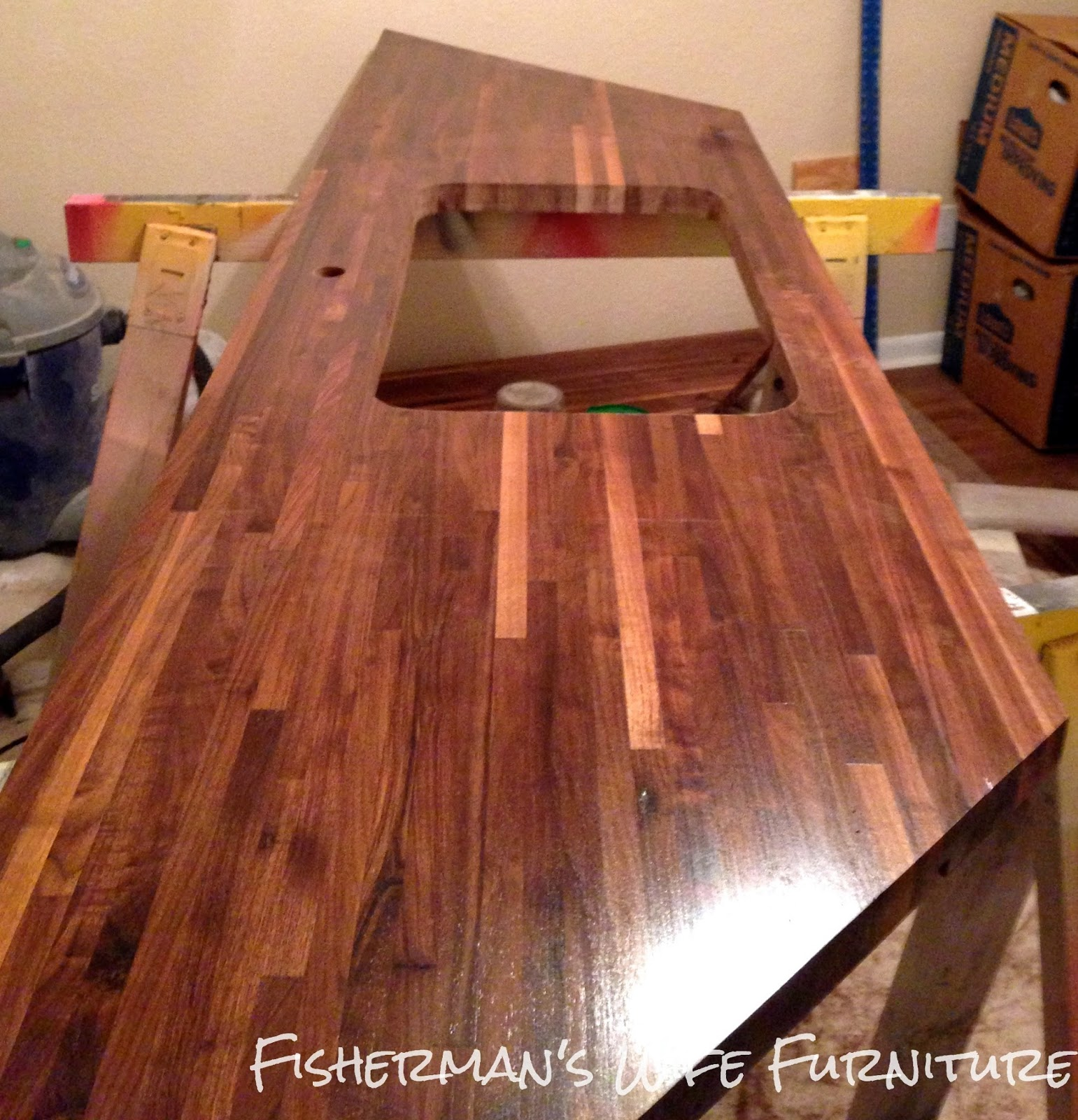Fisherman 39 s wife furniture diy butcher block countertops for Installing butcher block countertops