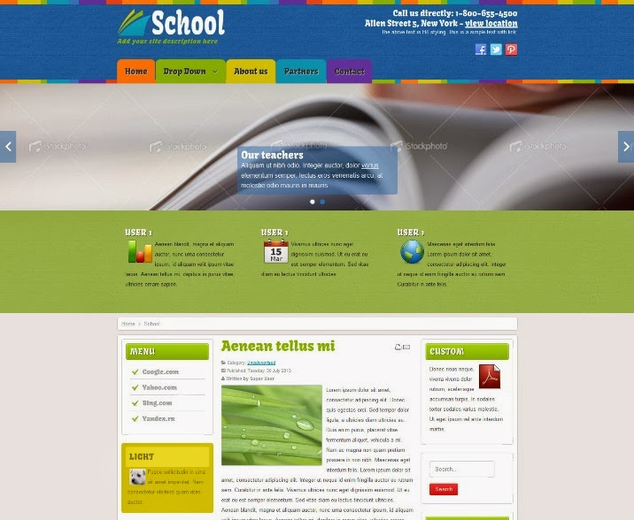Education, School Joomla Free Template