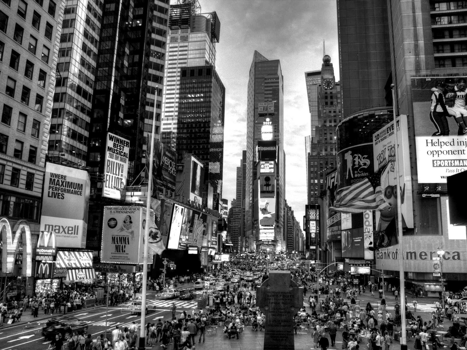 Times square New york city black and white photography