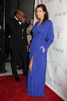 Kim Kardashian in a blue dress