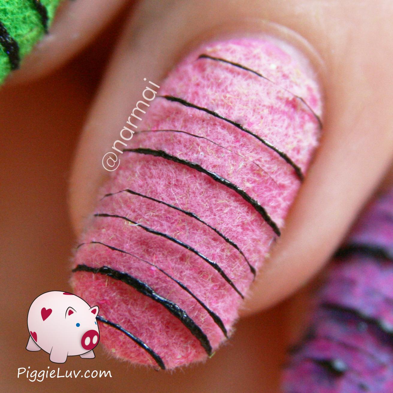 Piggieluv Sugar Spun On Top Of Flocking Powder Nail Art