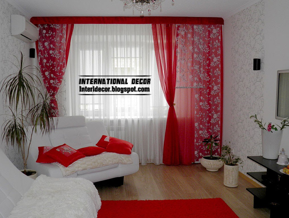 red curtains window treatments, red and white curtain for interior living