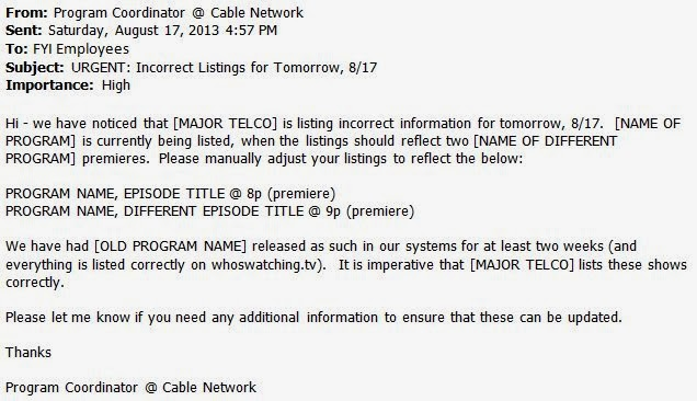 major telco tv listing error