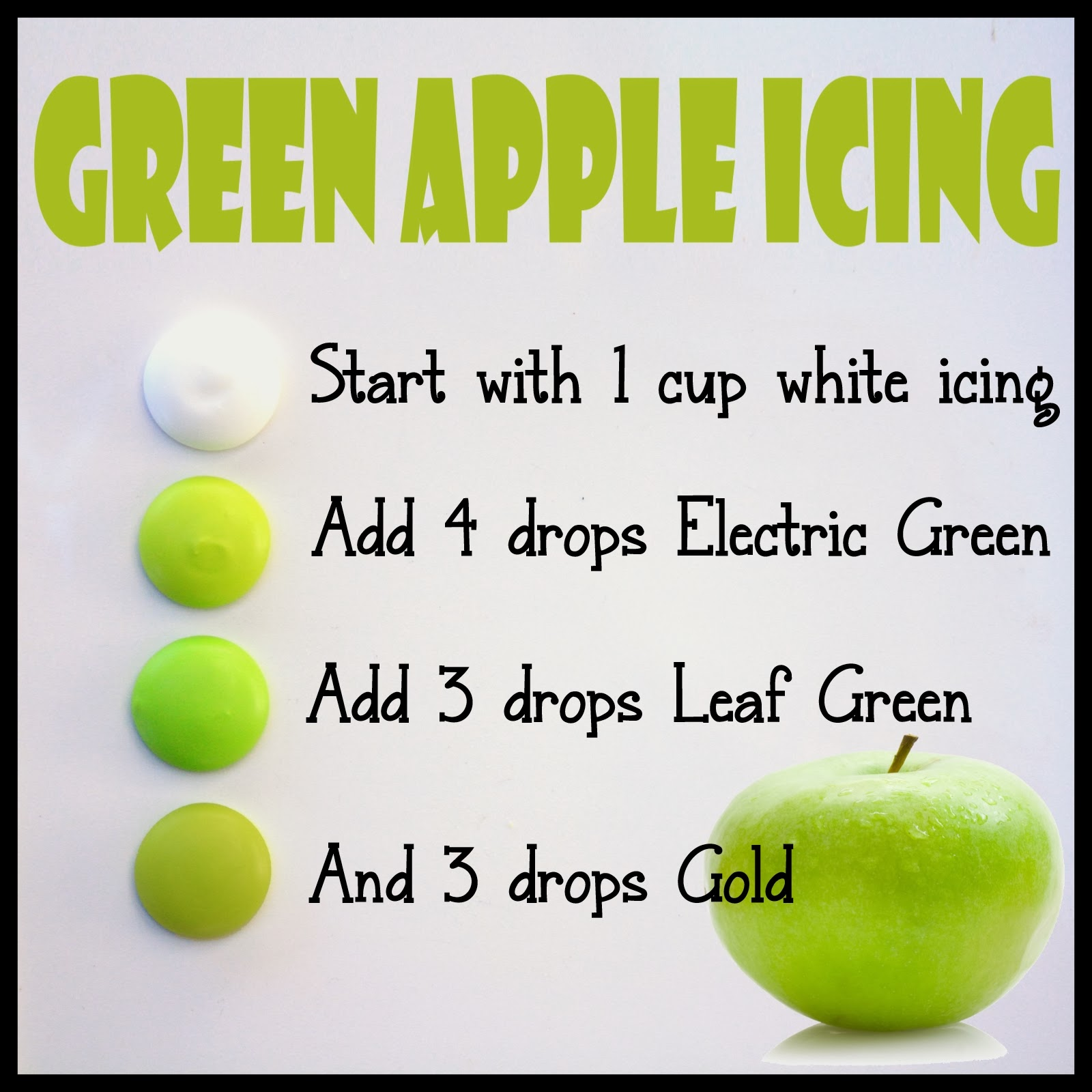 how to make green apple colored icing - Apple Green Color